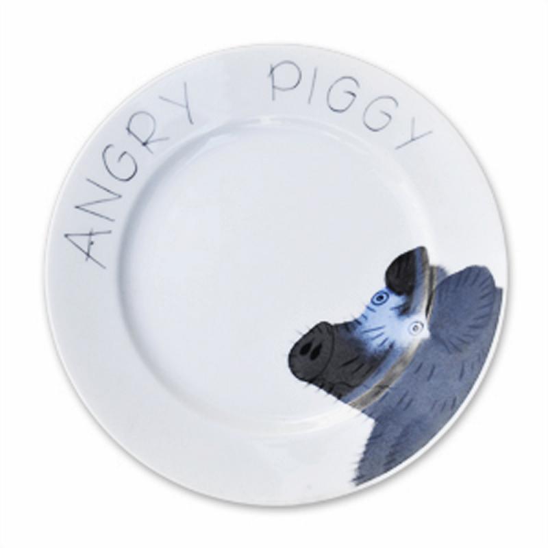 Angry Piggy Teller Schwein 19 cm Porzellan handbemalt
