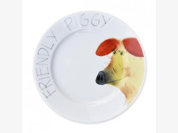Friendly Piggy Teller Schwein 19 cm Porzellan handbemalt