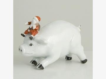 Schwein mit Nikolaus. Porzellan. Barbara Flügel