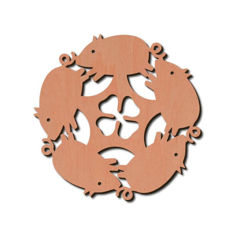 Holzstern Schwein Deko 8cm