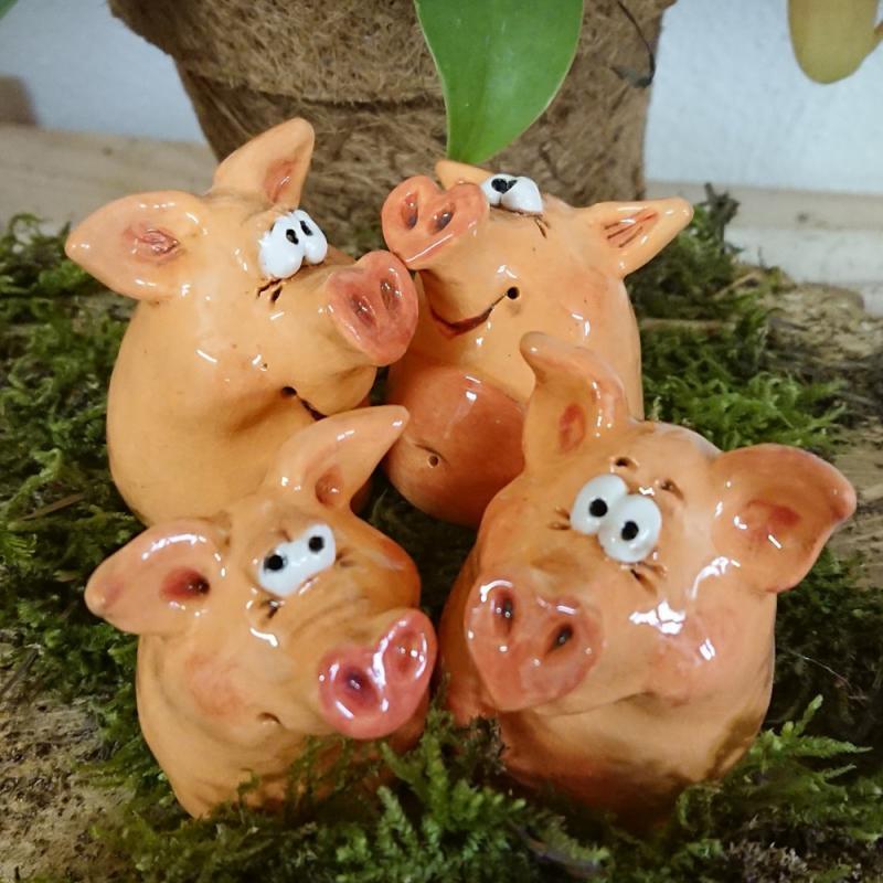 Glücksschweinchen Keramik - jedes Schwein ein Unikat!
