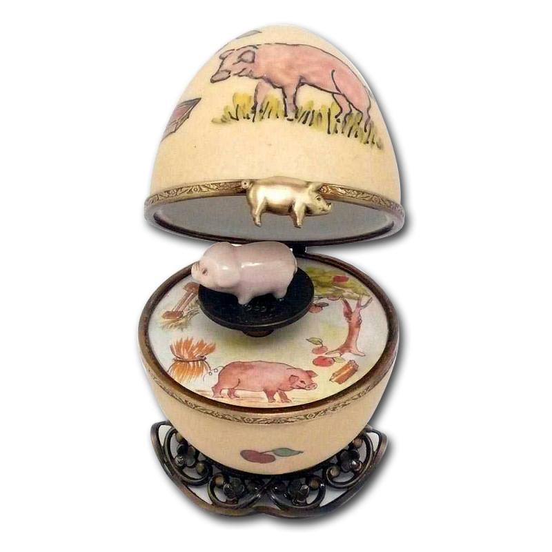 Eierförmige Spieluhr Schwein 7cm Limoges Porzellan Handgemacht by Fanex France