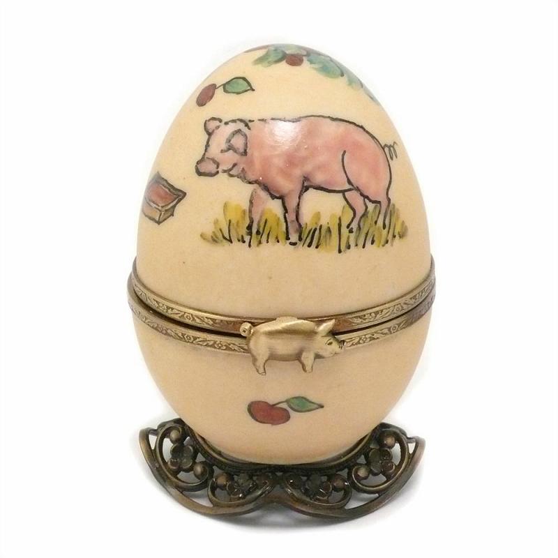 Eierförmige Spieluhr Schwein 9cm Limoges Porzellan Handgemacht by Fanex France