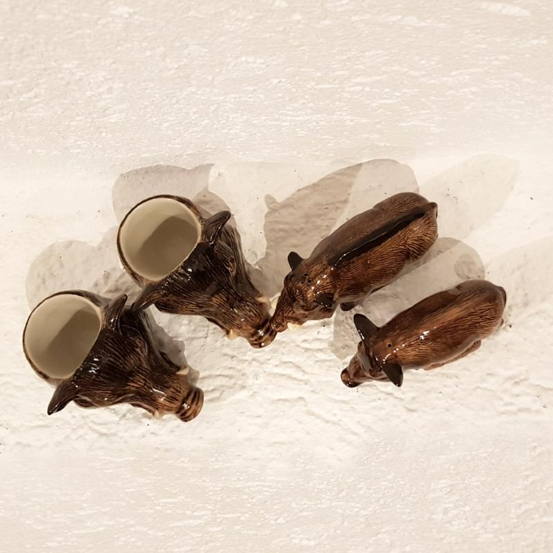 Frühstücks-Set 4-teilig Wildschwein feine Keramik Quail GB