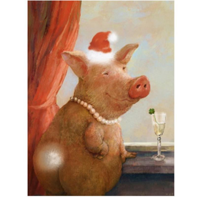 Postkarte Schönes Schweinachten. R.Hurzlmeier. Schwein