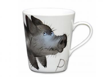 Angry Piggy Henkelbecher opty Schwein Porzellan handbemalt