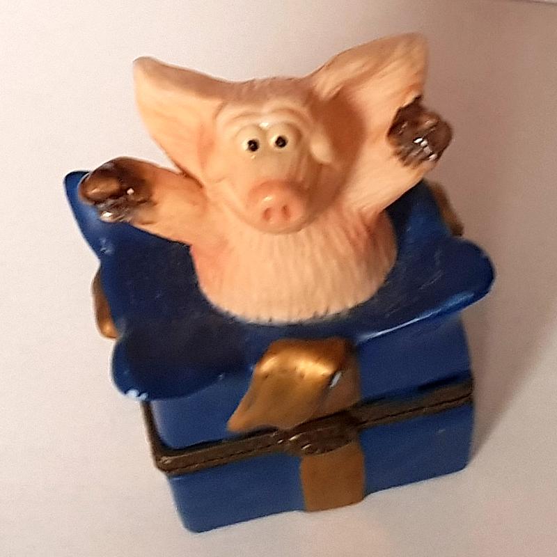 Schmuck-Dose m. Schwein auf dem Deckel 1998 EINZELSTÜCK!