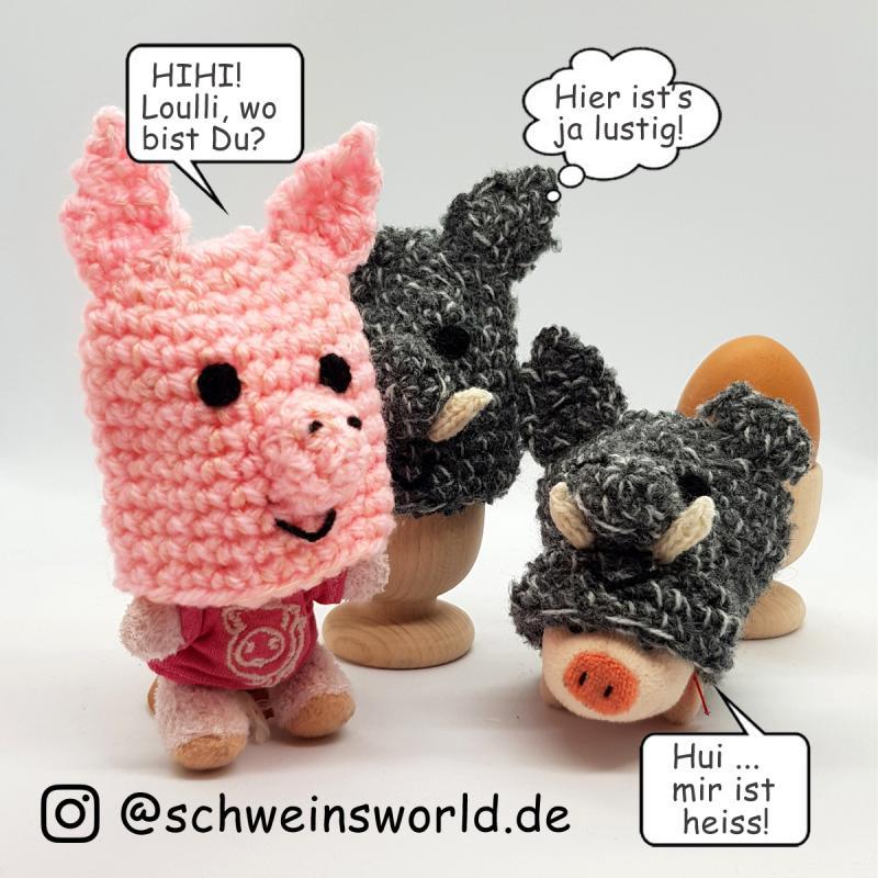 Eierwärmer Hausschwein Clara. gehäkelt. Jedes Schwein ein Unikat!