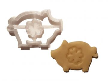 Keks Ausstechform Schwein Lucky m. Kleeblatt Plätzchen SCHWEINSWORLD
