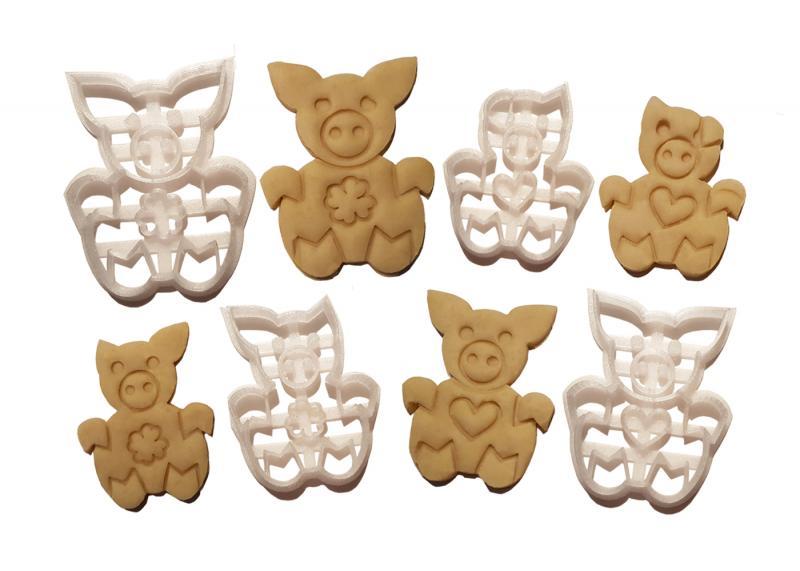 Keks Ausstechform-Set Schweine-Familie 4 Stück Plätzchen SCHWEINSWORLD