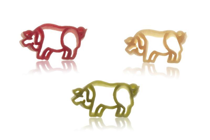 Nudeln Motiv Glücksschweine bunt ohne Ei, 500g