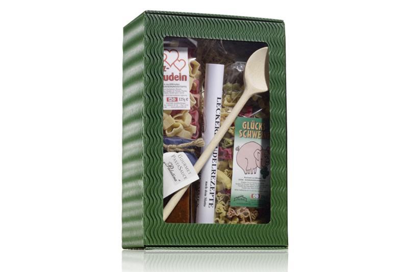 Viel Glück! Pasta-Box m. Nudel-Glücksschweinen Sauce nach Wahl