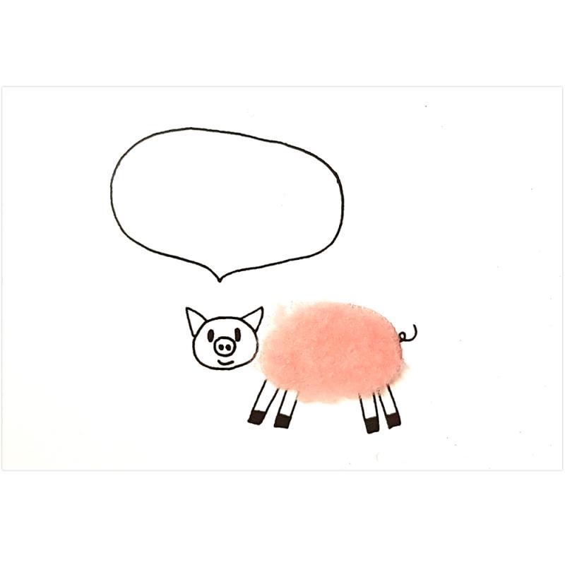 Plüsch-Postkarte Schwein. Sprechblase