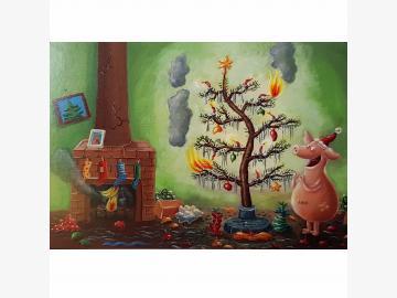 Postkarte Weihnachten Chaos Schwein