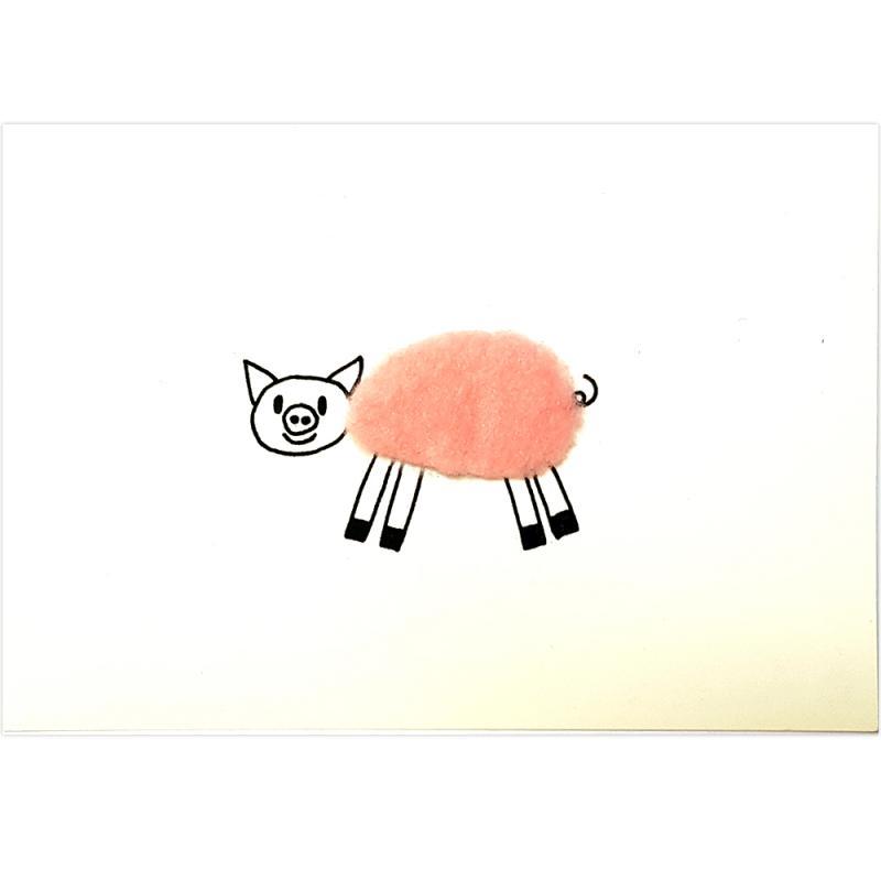Plüsch-Postkarte Schwein