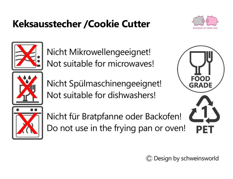 Keks Ausstechform Schwein Papa Julius m. Kleeblatt  Plätzchen SCHWEINSWORLD