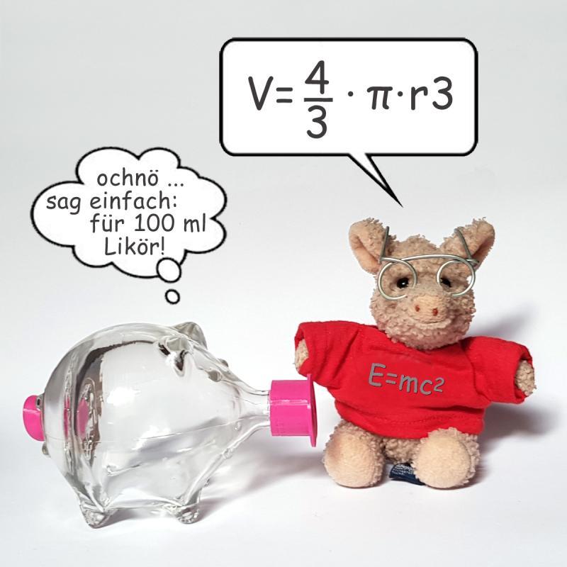 Schweinchen Flasche 100ml Glas Kunststoff SCHWEINSWORLD