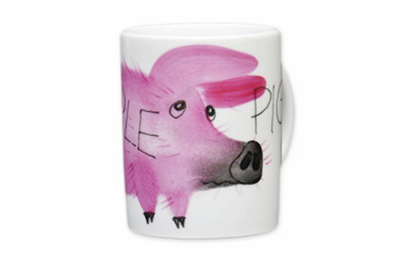 Simple Piggy Henkelbecher Schwein hohe Form Porzellan handbemalt