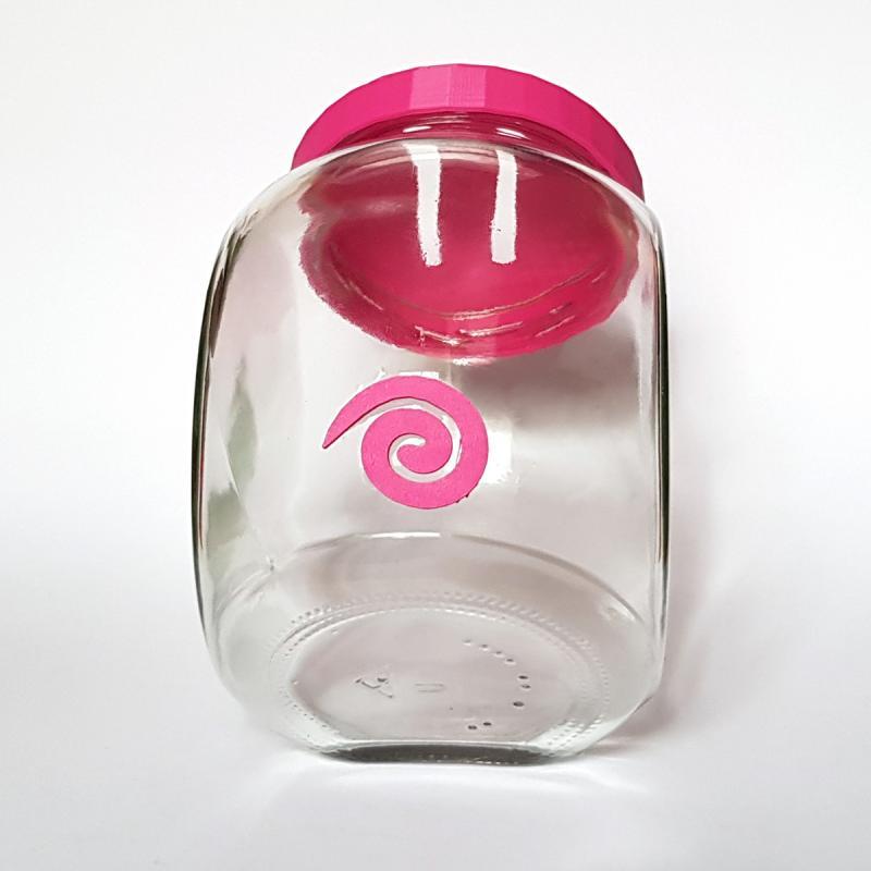 Sparschwein sitzend PINKY Glas Kunststoff 14cm