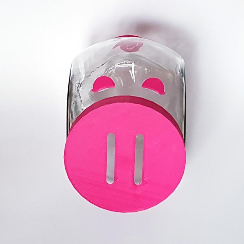 Sparschwein sitzend PINKY mit Augen Glas Kunststoff 14cm